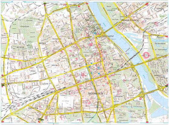 Detailed map of Warsaw 2