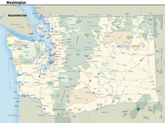 Große Karte von Washington 1