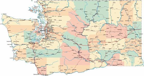 Detaillierte Karte von Washington 2