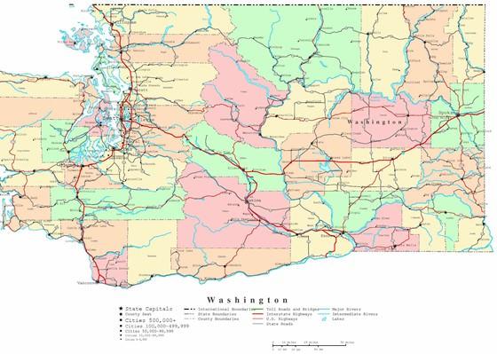 Detaillierte Karte von Washington 4