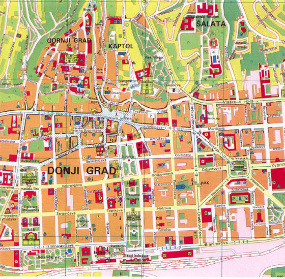 High-resolution map of Zagreb for print or download
