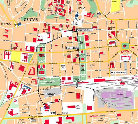 Detailed map of Zagreb for print or download