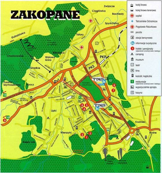 Detailed map of Zakopane 2