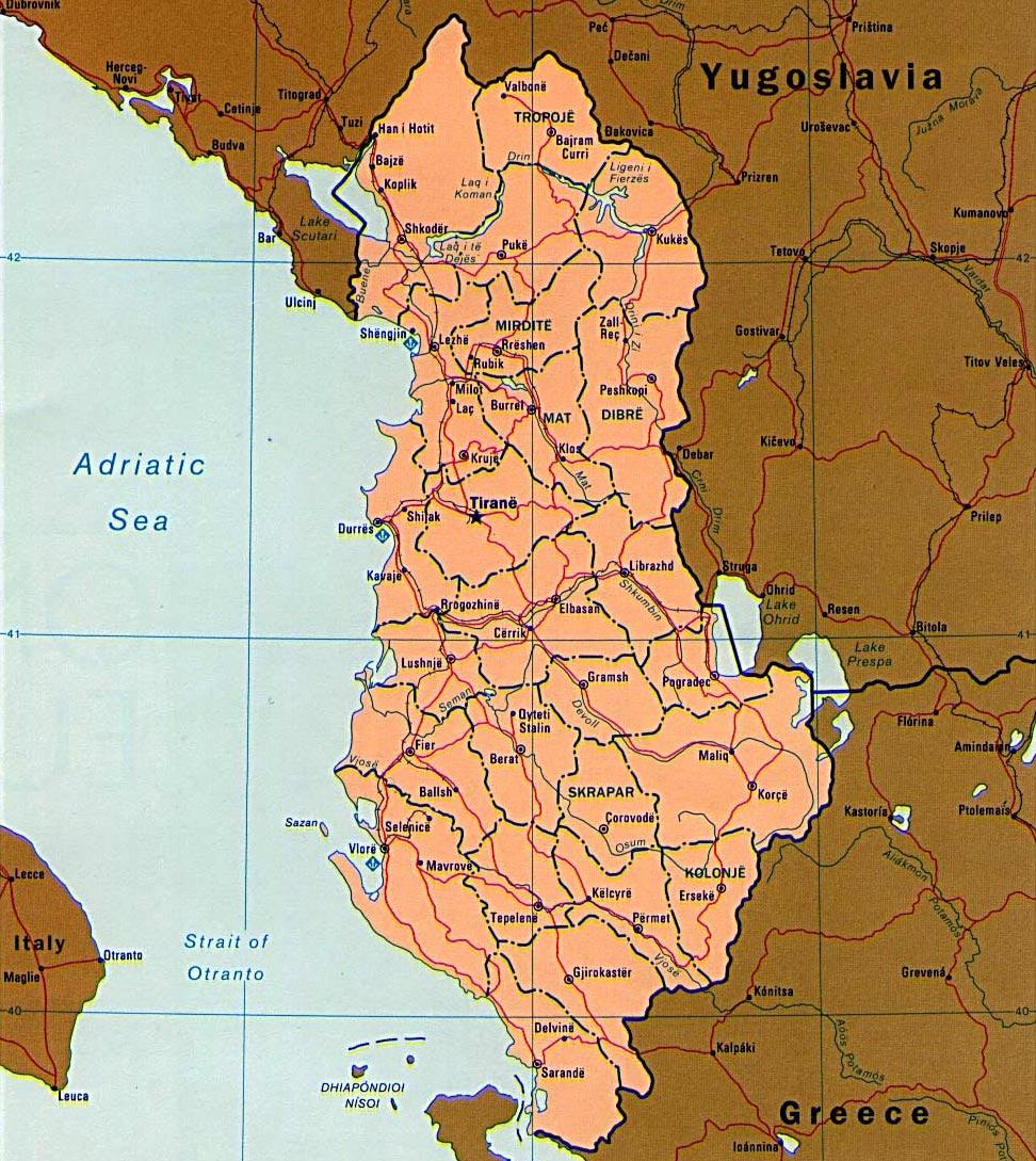 Albaniya V Kartah Bolshie Pechatnye Karty Albanii S Vozmozhnostyu