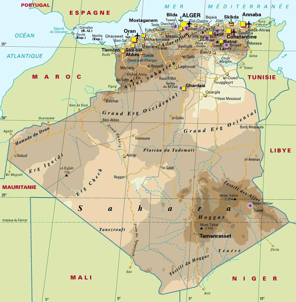 Algeria Maps | Printable Maps of Algeria for Download on