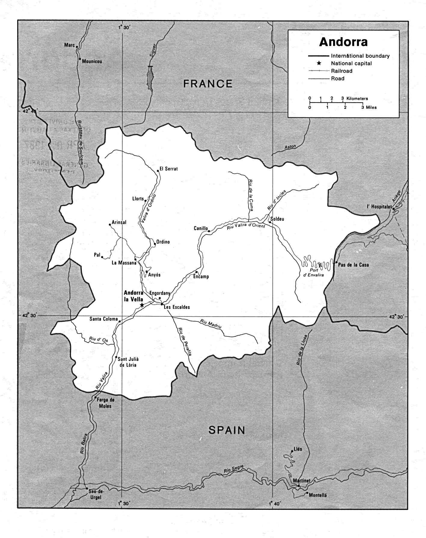 Andorra Maps Printable Maps of Andorra for Download