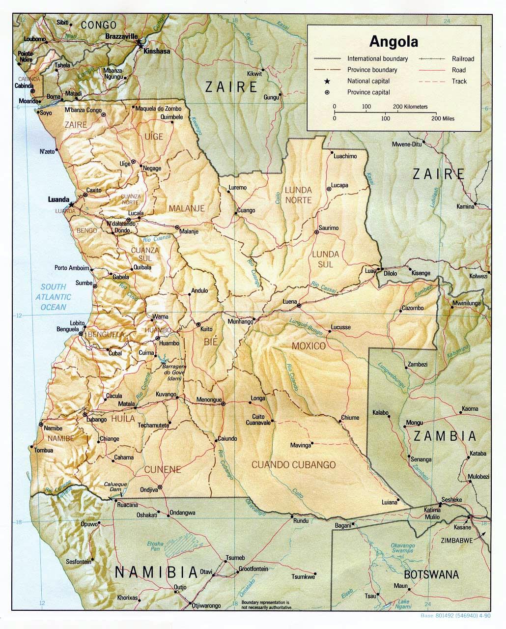 Angola Maps Printable Maps of Angola for Download