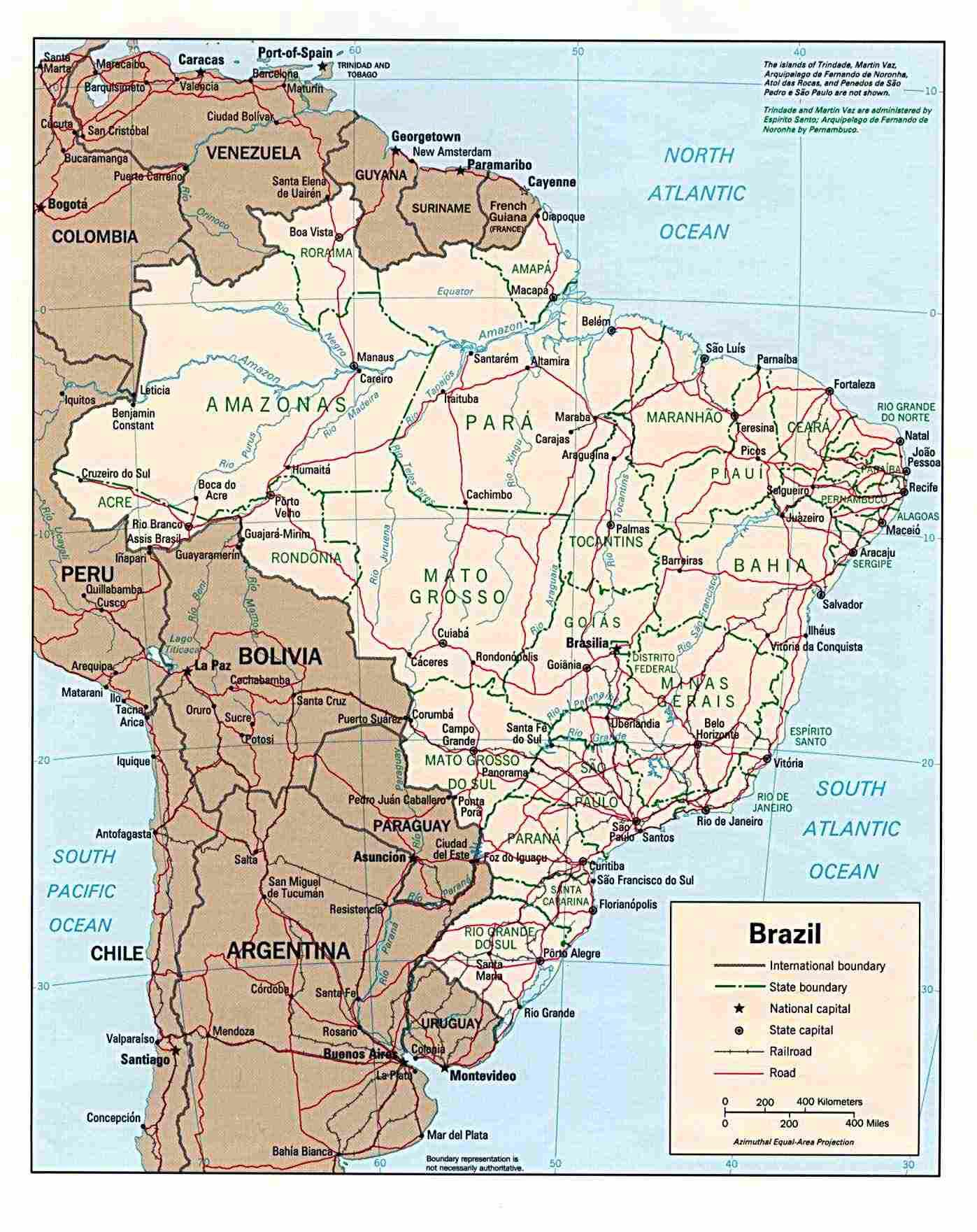 large map of brazil