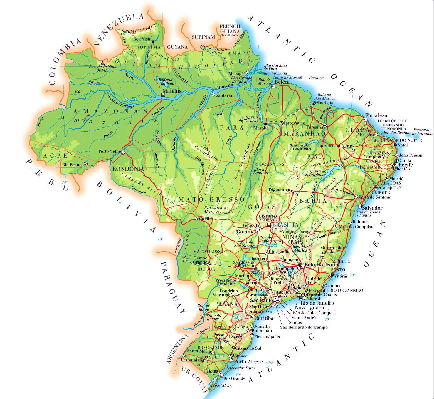 detailed map of brazil