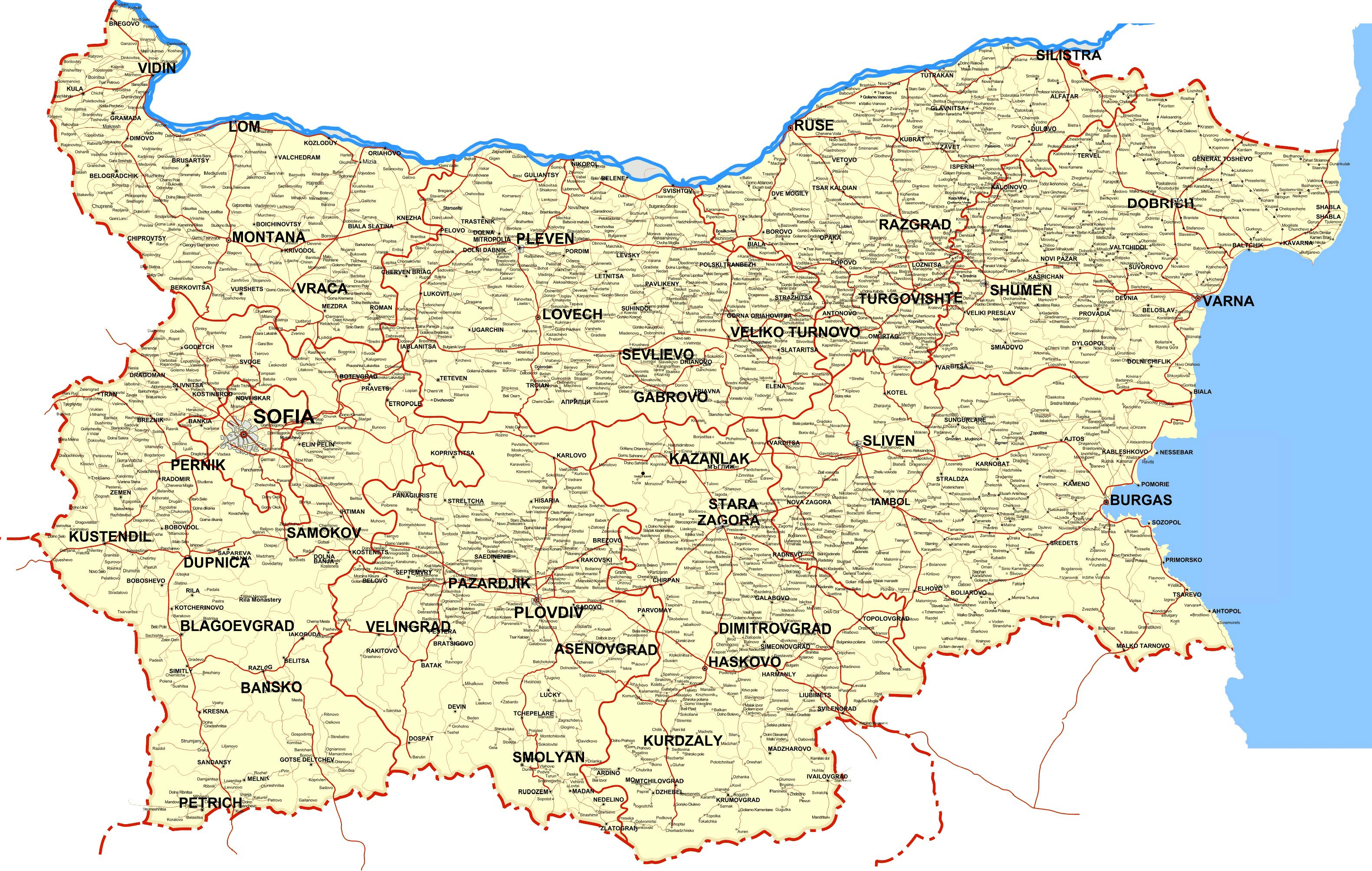 Bulgaria Maps Printable Maps of Bulgaria for Download
