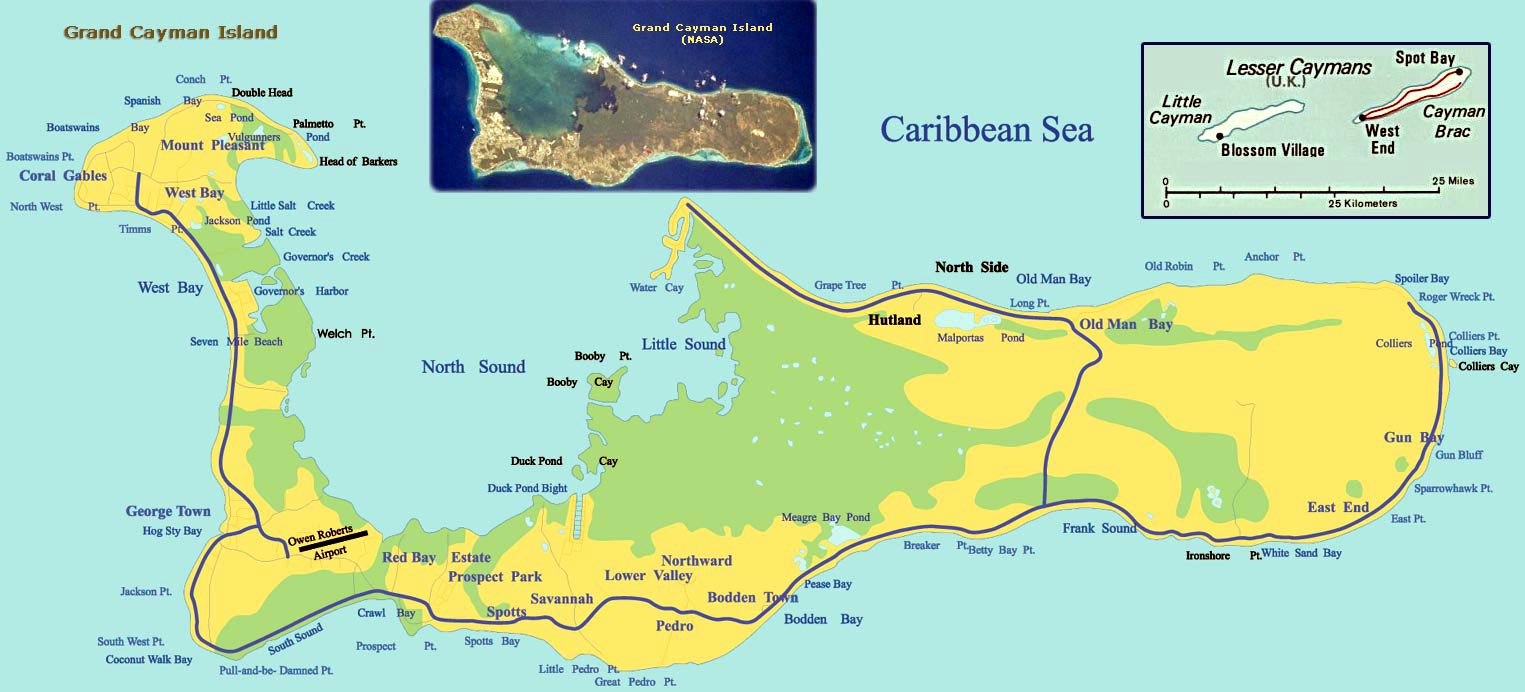 Large Map Of Cayman Islands