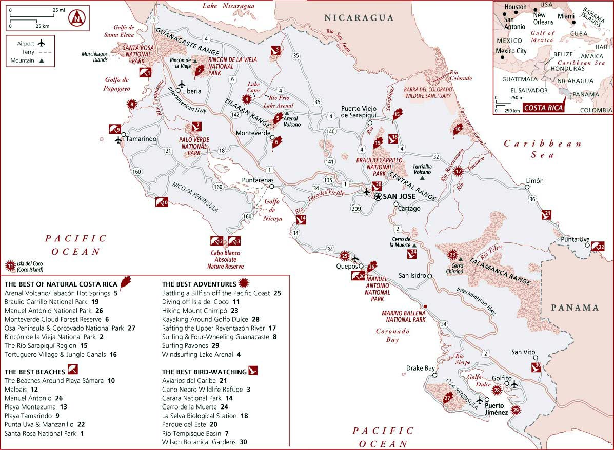 Costa Rica Maps | Printable Maps of Costa Rica for Download