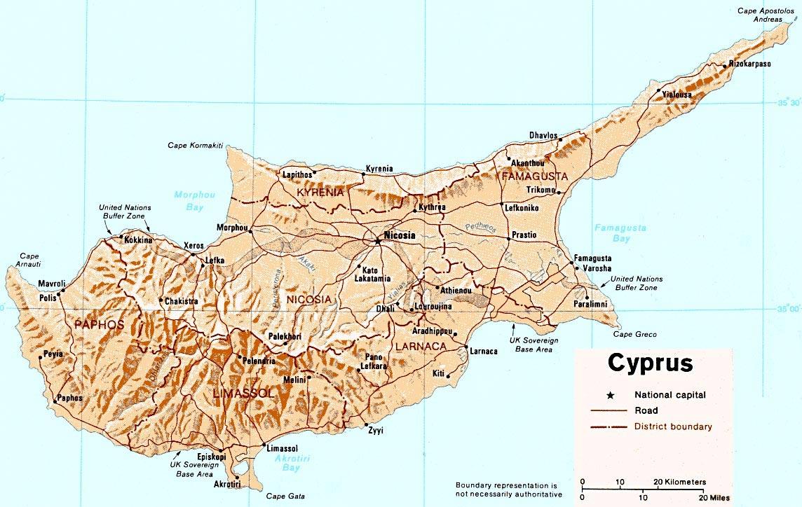 carte de chypre touristique
