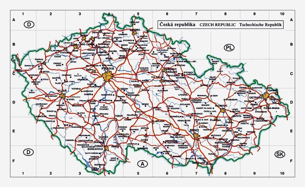 Mapas imprimidos de Repblica Checa con posibilidad de descargar
