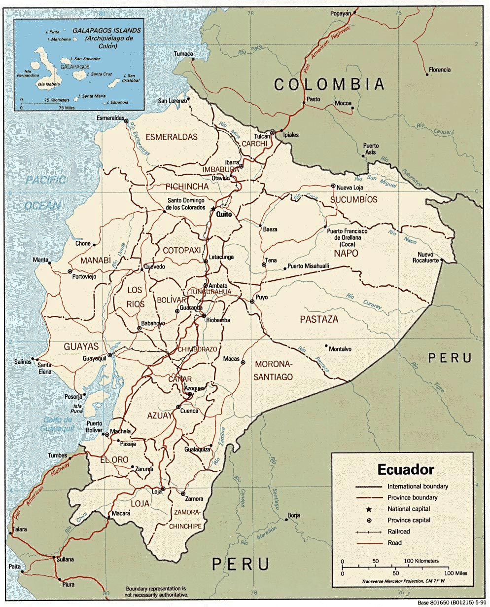 Ecuador Maps Printable Maps of Ecuador for Download