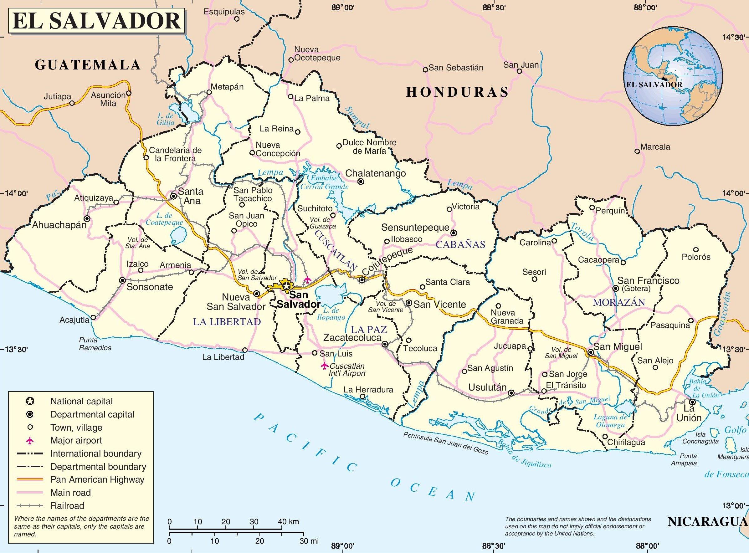 Karten Von El Salvador Karten Von El Salvador Zum Herunterladen