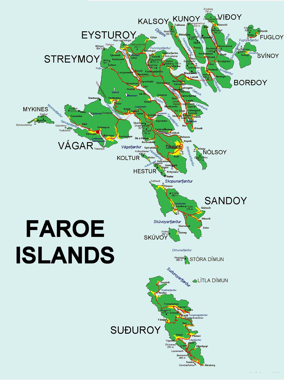Faroe Islands Maps Printable Maps Of Faroe Islands For Download - Islands map