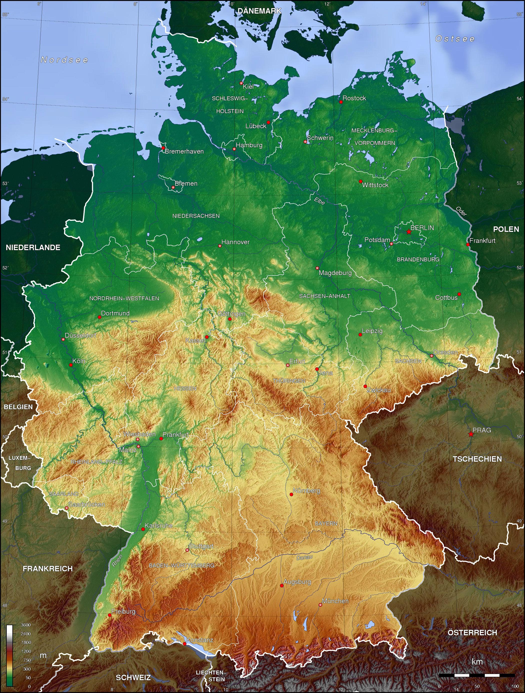 detailed map of germany