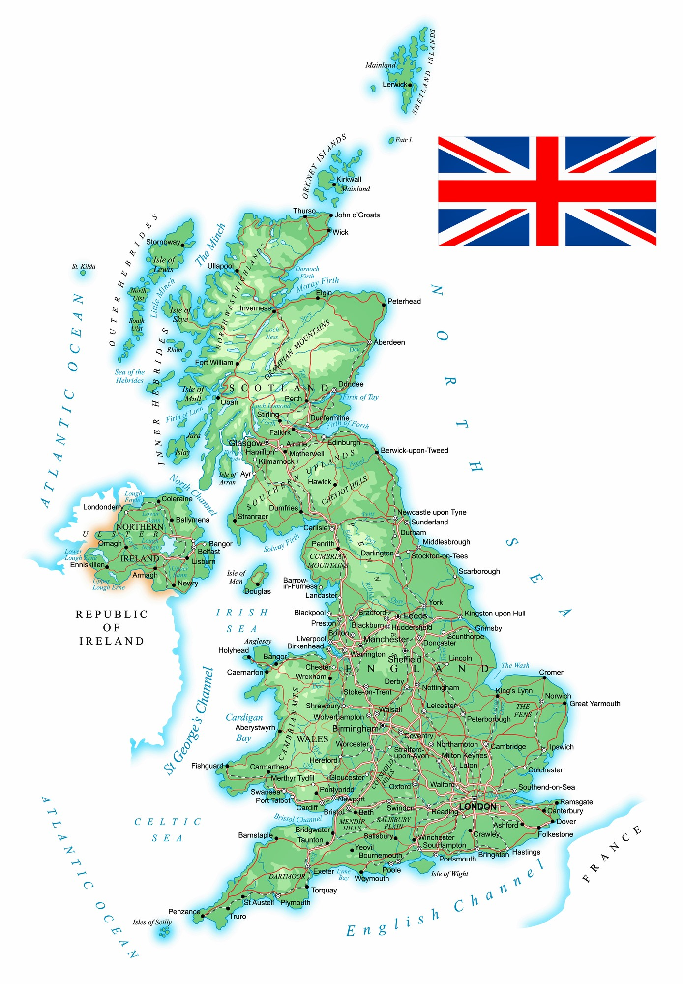 Great Britain Maps Printable Maps Of Great Britain For Download