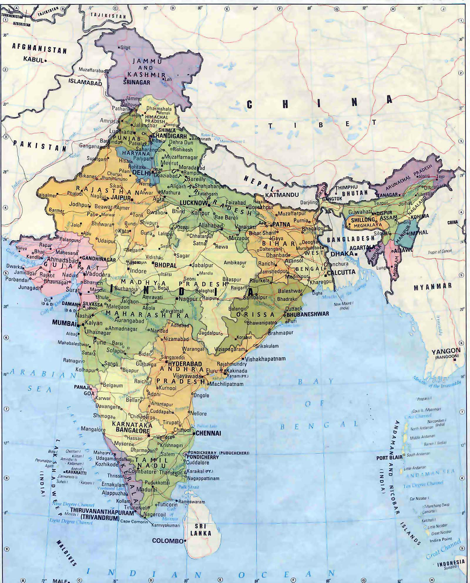 Indian political map, free indian political map, download free.