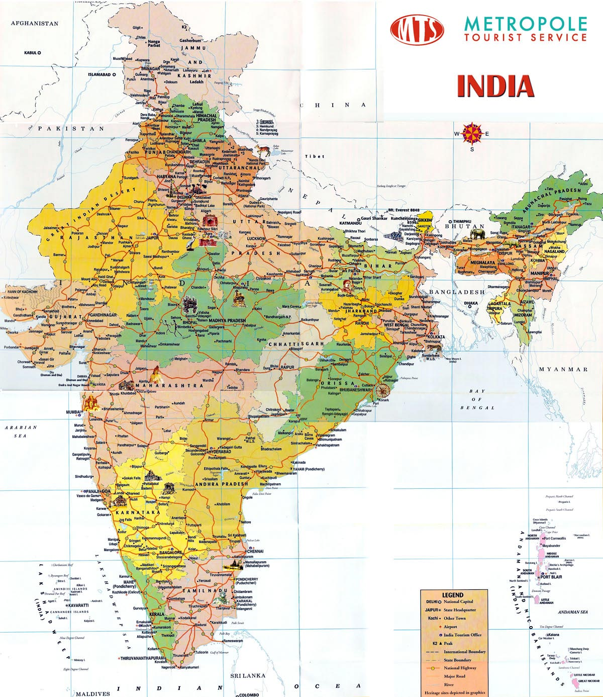 India maps printable maps of india for download detailed map of india gumiabroncs Image collections