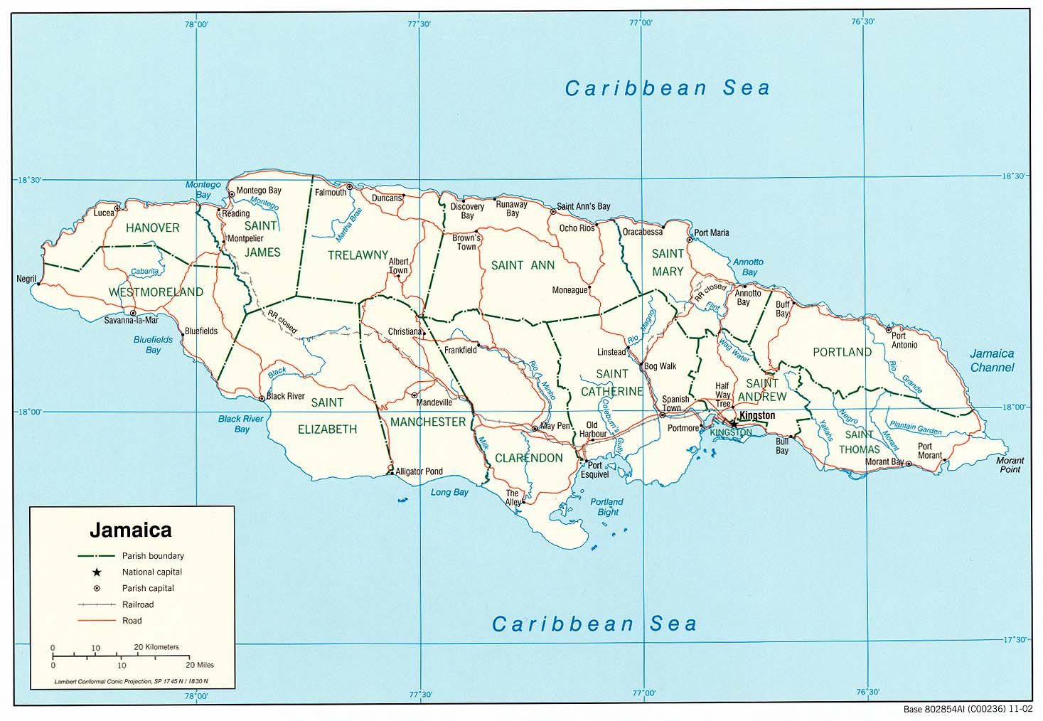 detailed map of jamaica. jamaica maps  printable maps of jamaica for download