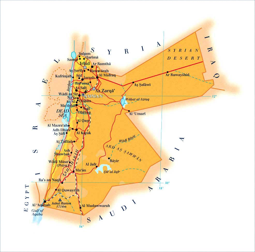 Jordan Maps Printable Maps Of Jordan For Download - Jordan map download
