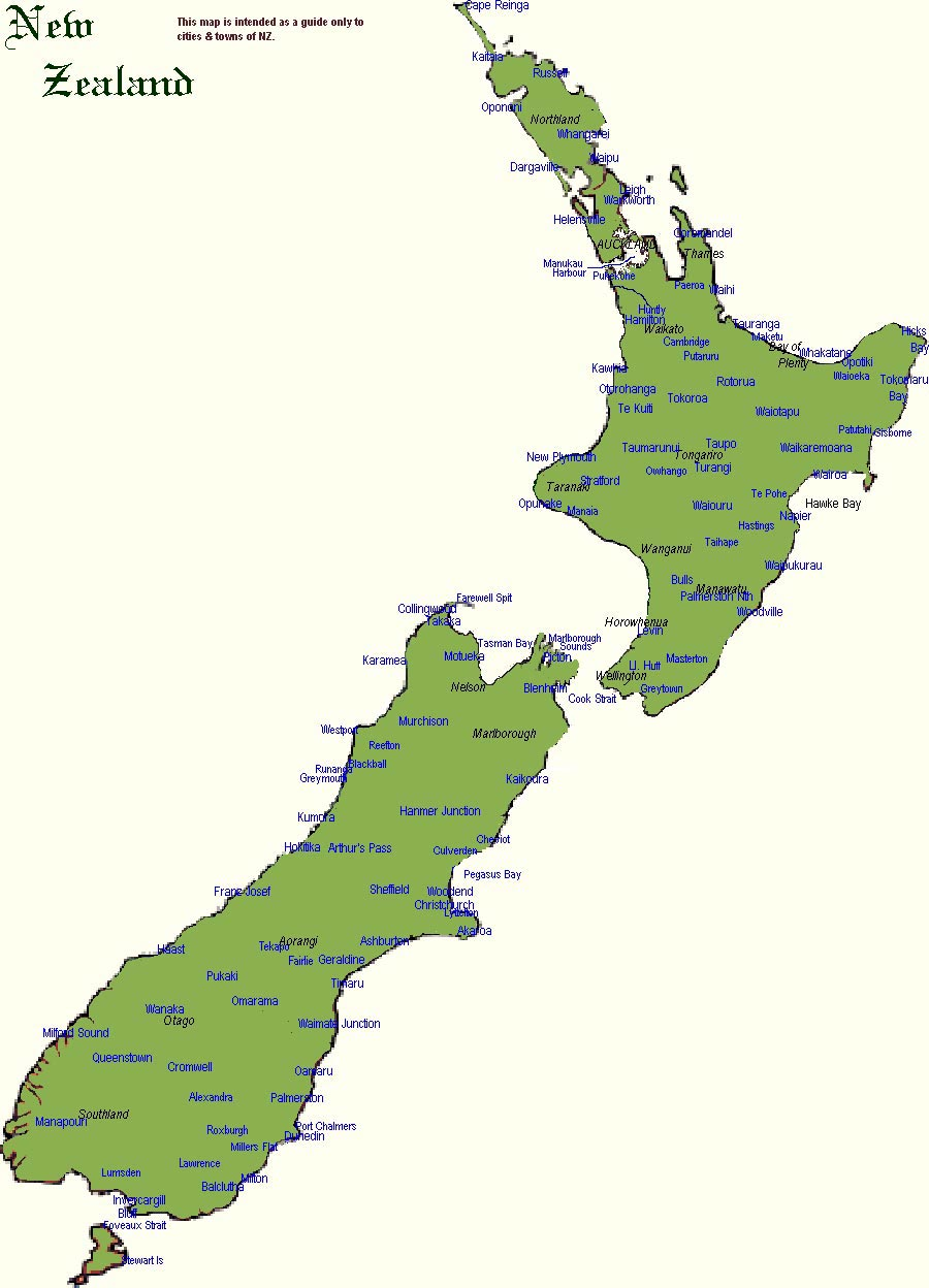 New Zealand Map Cities