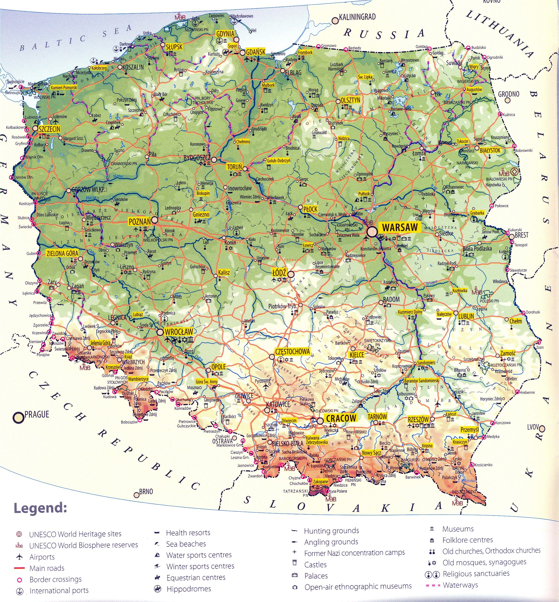landkarte von polen Karten von Polen | Karten von Polen zum Herunterladen und Drucken landkarte von polen