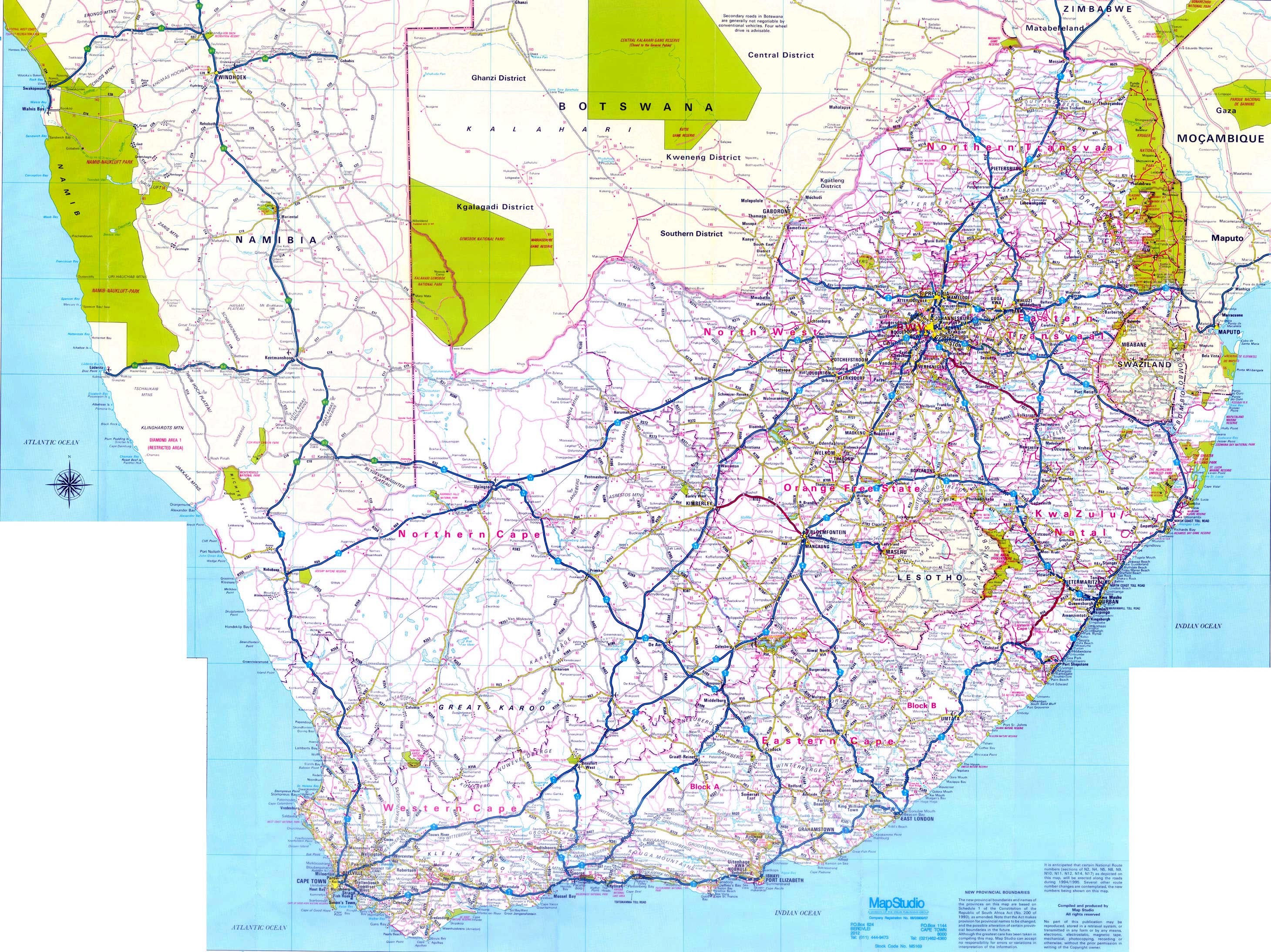 Printable Road Maps South Africa Maps | Printable Maps of South Africa for Download