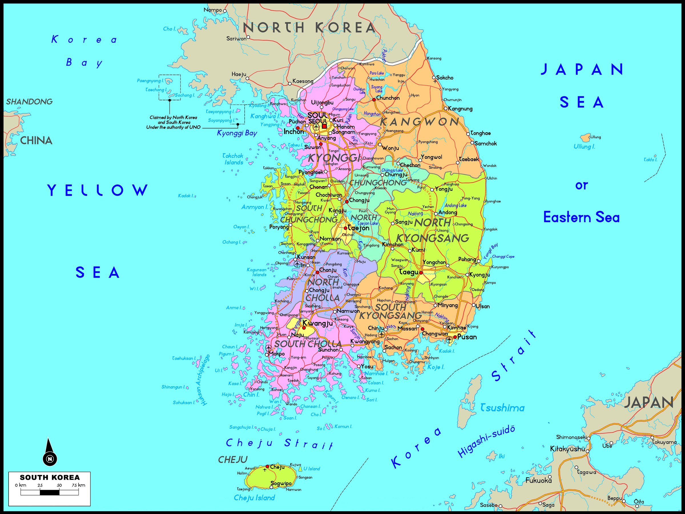 South Korea Maps | Printable Maps of South Korea for Download