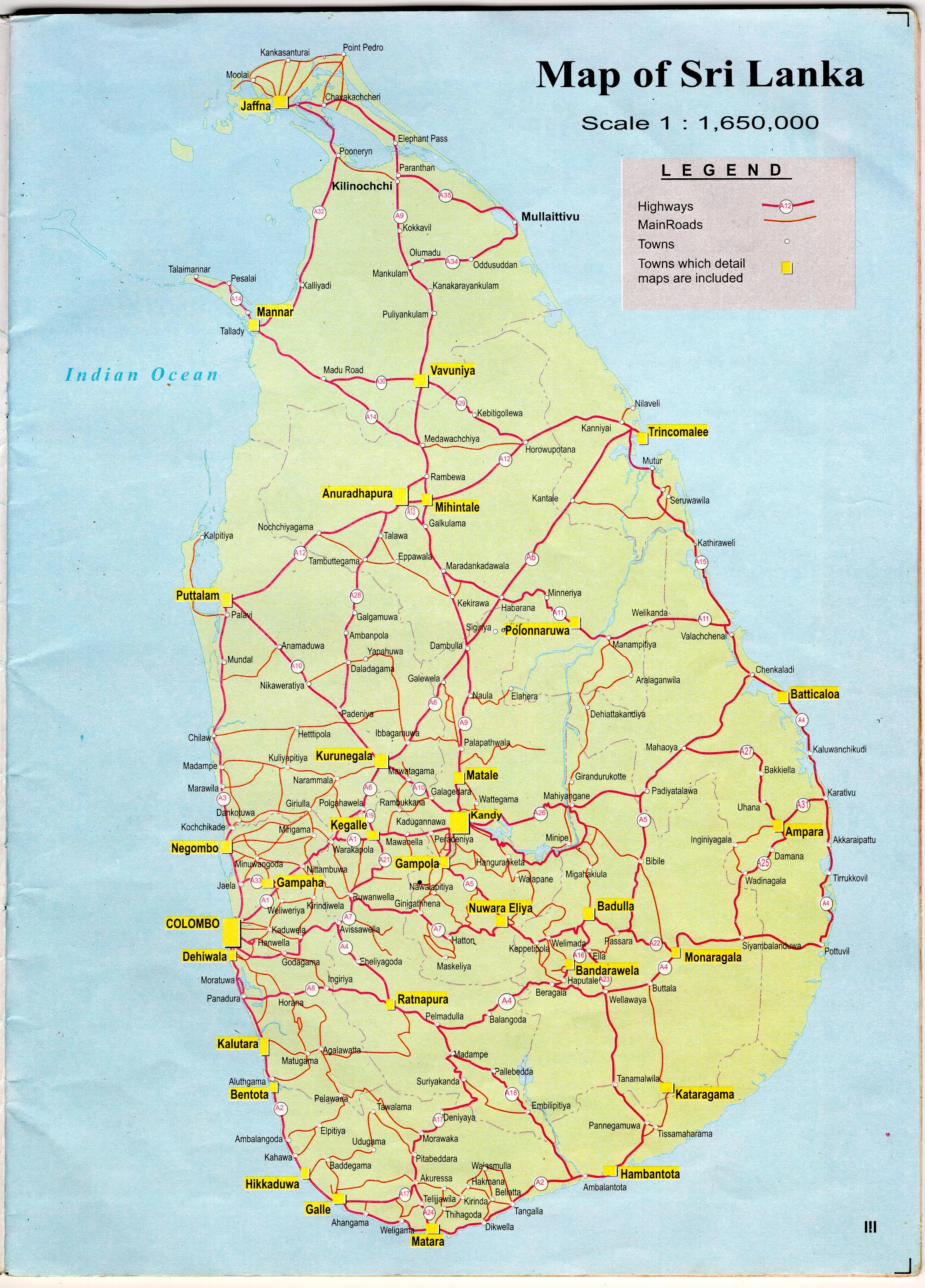 Road pdf map lanka sri