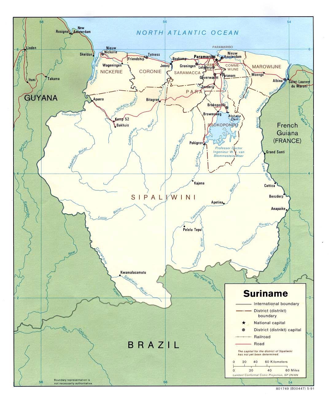 Suriname Maps Printable Maps of Suriname for Download