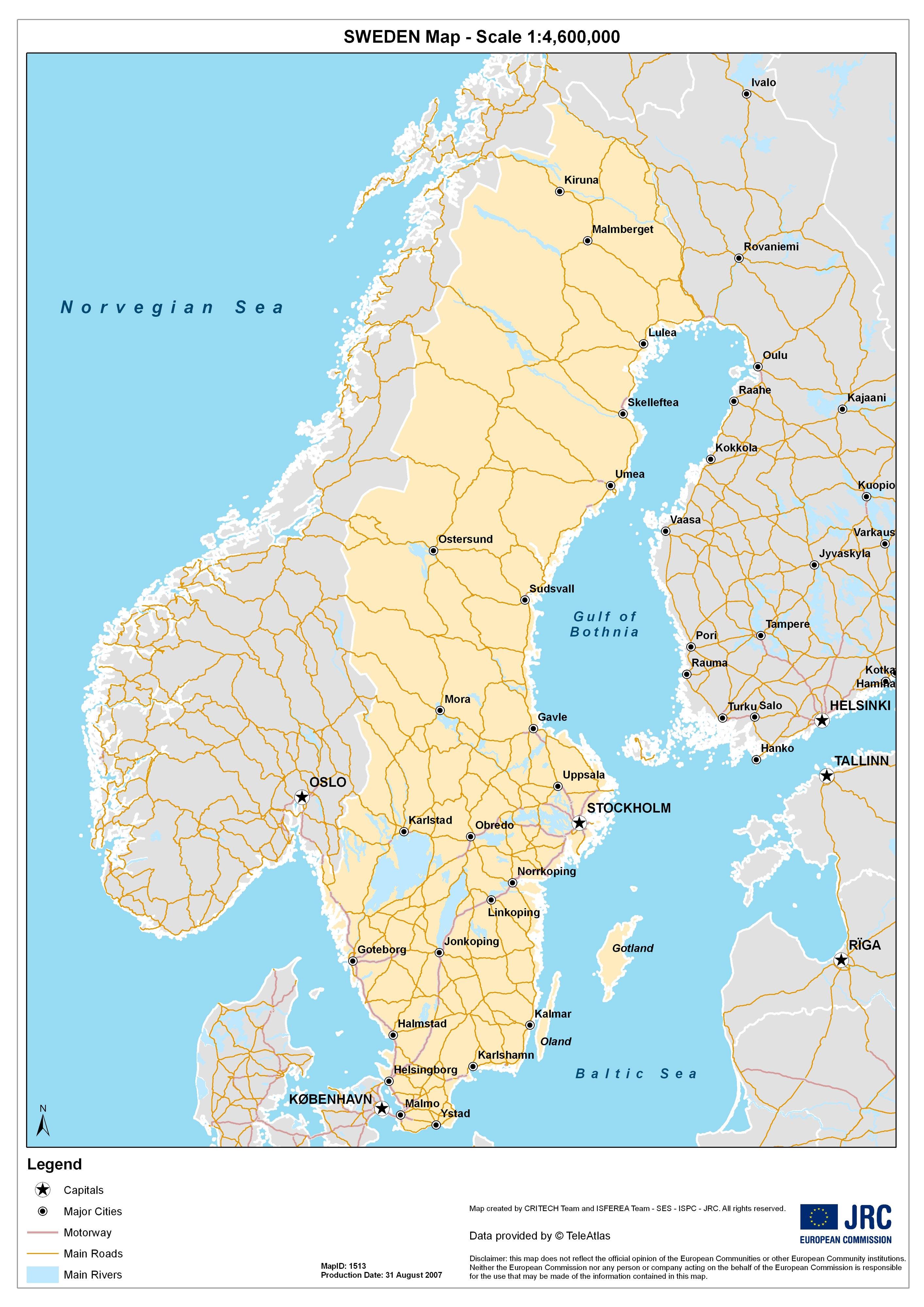 karte von schweden Karten von Schweden | Karten von Schweden zum Herunterladen und  karte von schweden