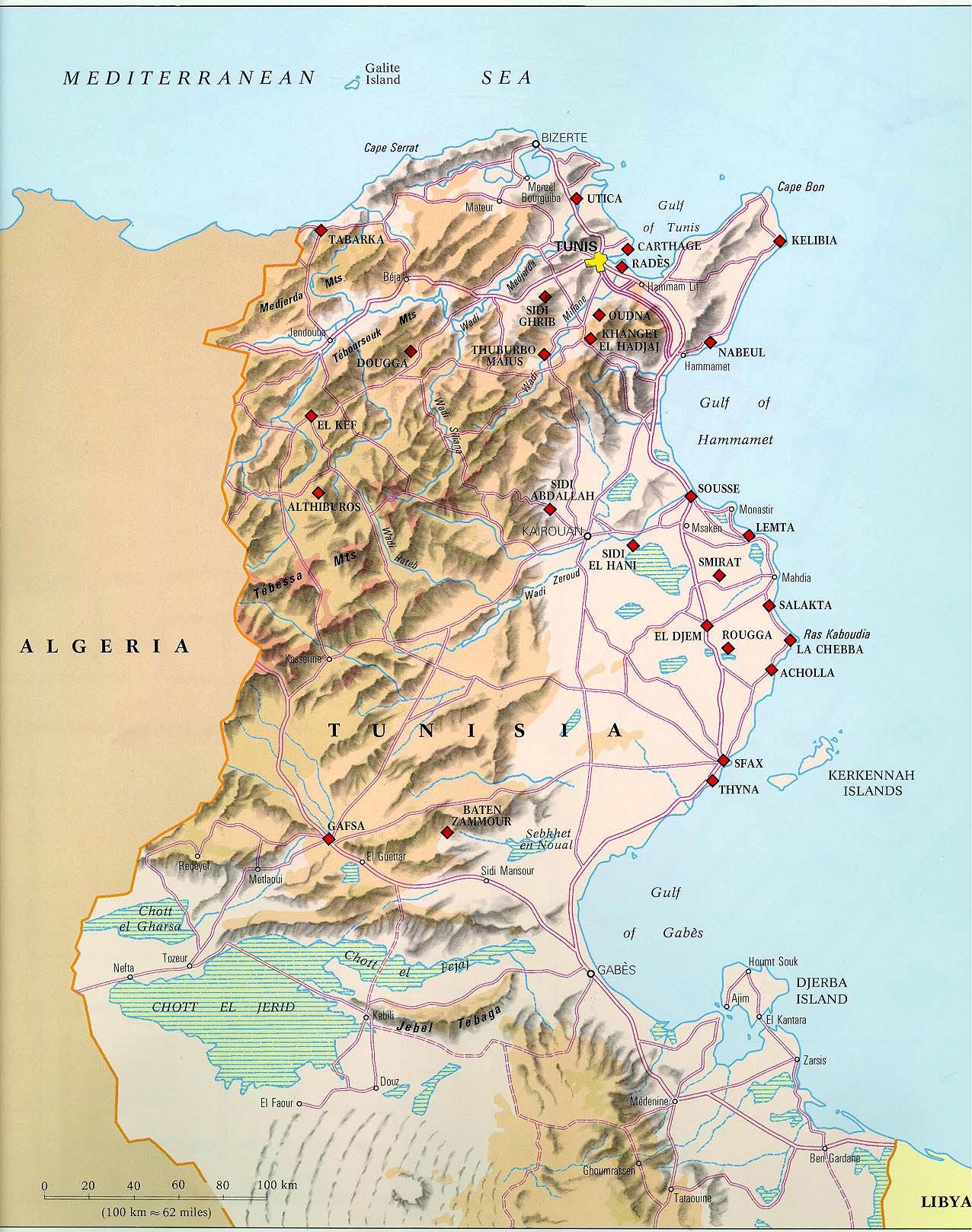 karte tunesien Karten von Tunesien | Karten von Tunesien zum Herunterladen und  karte tunesien
