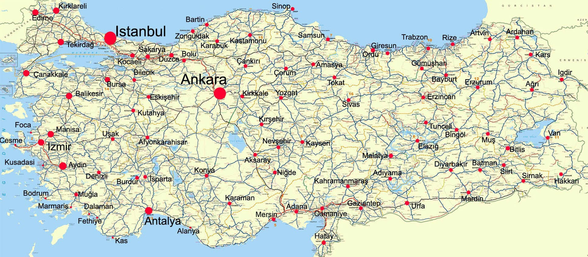 Turkey Maps Printable Maps of Turkey for Download