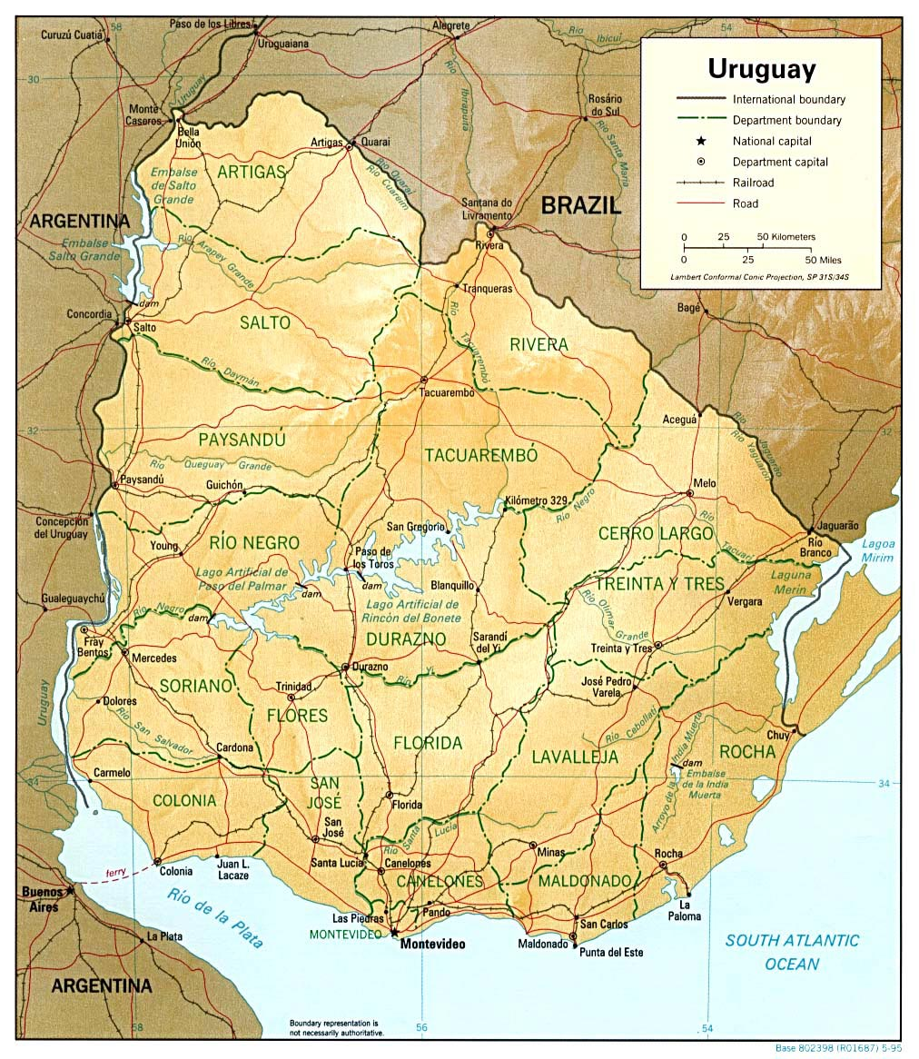 Uruguay Maps Printable Maps Of Uruguay For Download - Map of uruguay