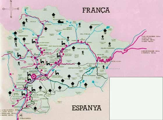 Detaillierte Karte von Andorra