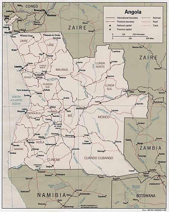 Detaillierte Karte von Angola