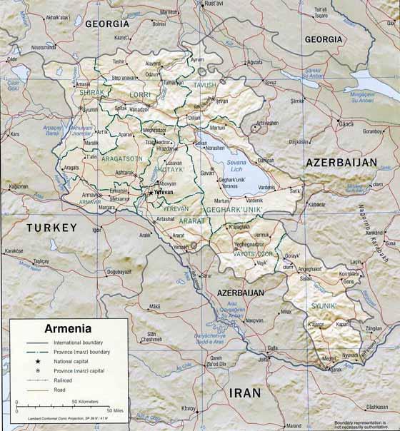 Detaillierte Karte von Armenien