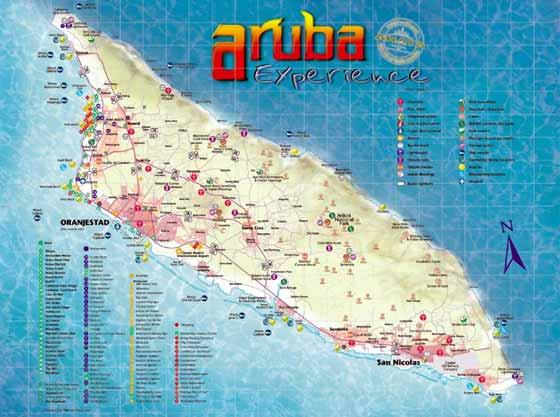 Detaillierte Karte von Aruba