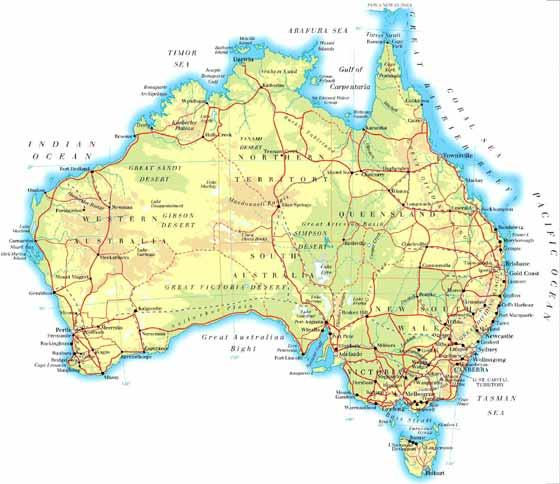 Detaillierte Karte von Australien