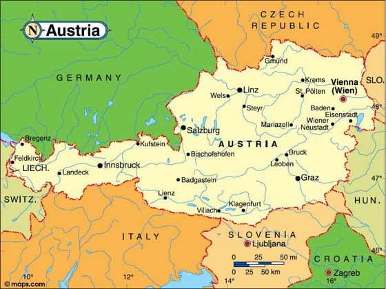 Large map of Austria