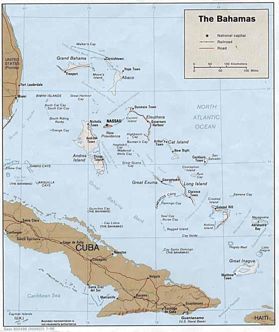 Große Karte von Bahamas