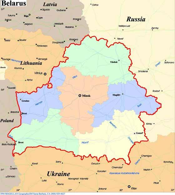 Large map of Belarus