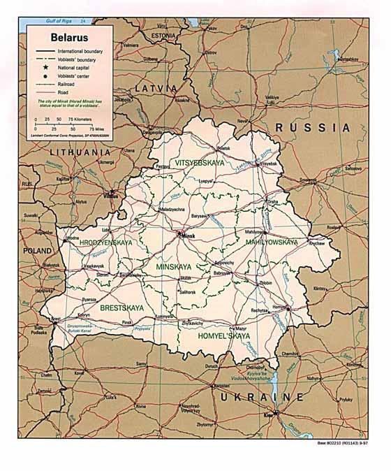 Detailed map of Belarus