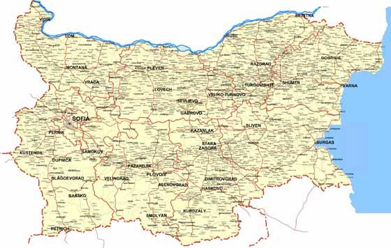 Detaillierte Karte von Bulgarien