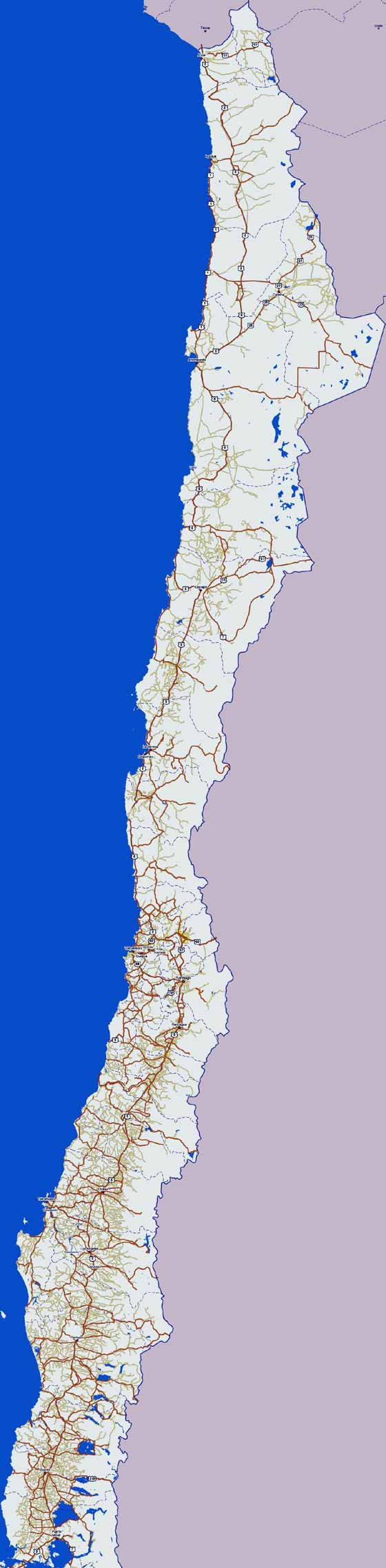 Large map of Chile