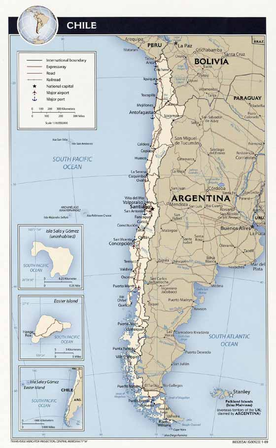 Detailed map of Chile