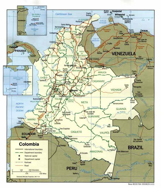 Large map of Colombia